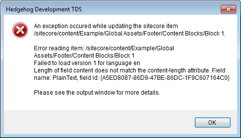 An exception occurred while updating Sitecore due to a content-length mismatch.