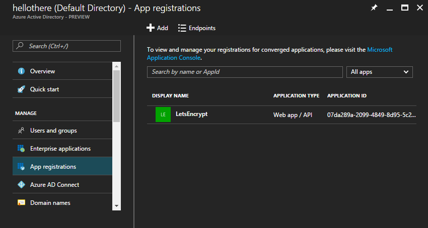 Azure Active Directory App Registrations