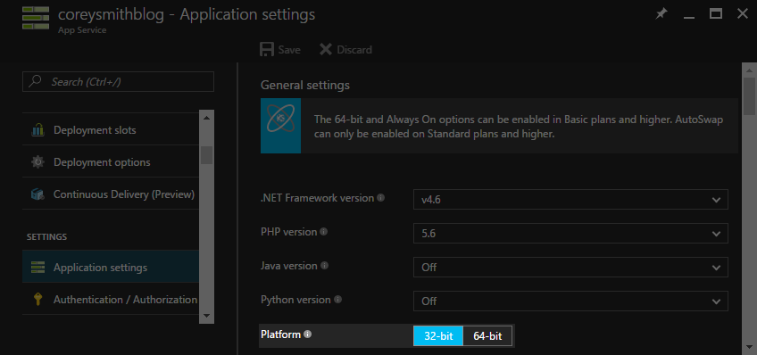 App Service Platform in Application Settings