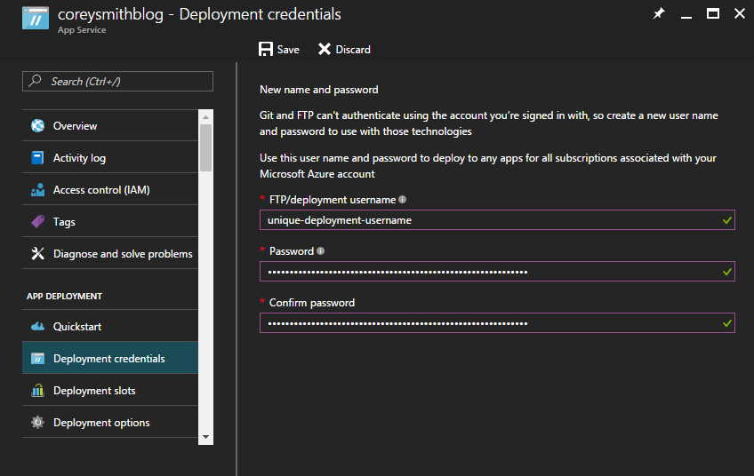 Web App Deployment Credentials