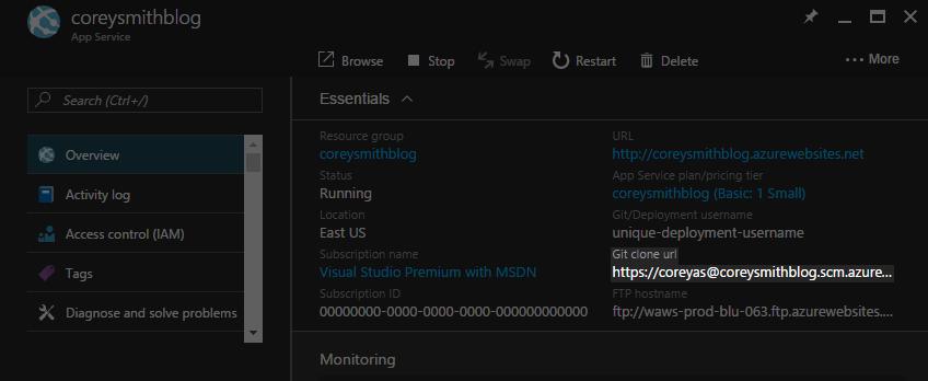 Web App Git Clone URL