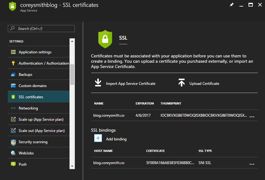 Let's Encrypt Certificate in Web App