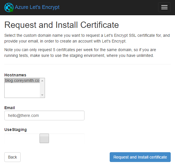 Let's Encrypt Site Extension Request and Install Certificate