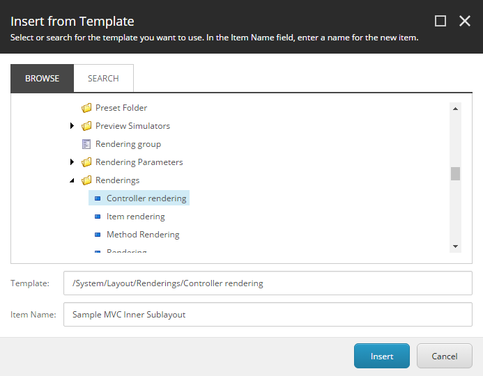 Create Sample MVC Inner Sublayout Rendering