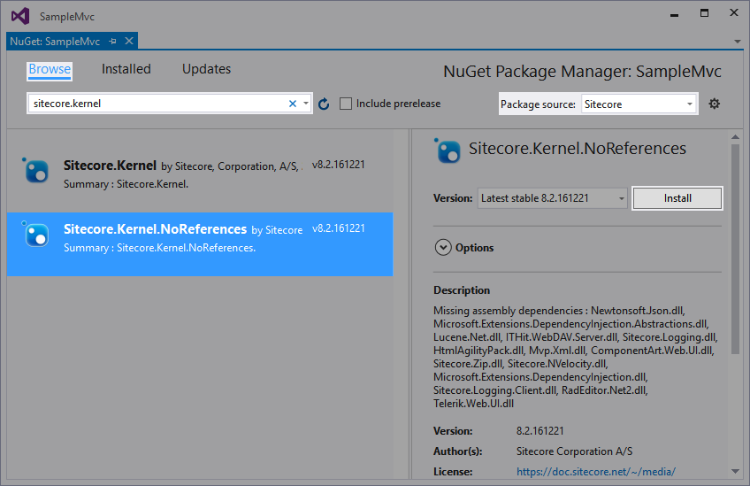 Sitecore.Kernel.NoReferences NuGet Package