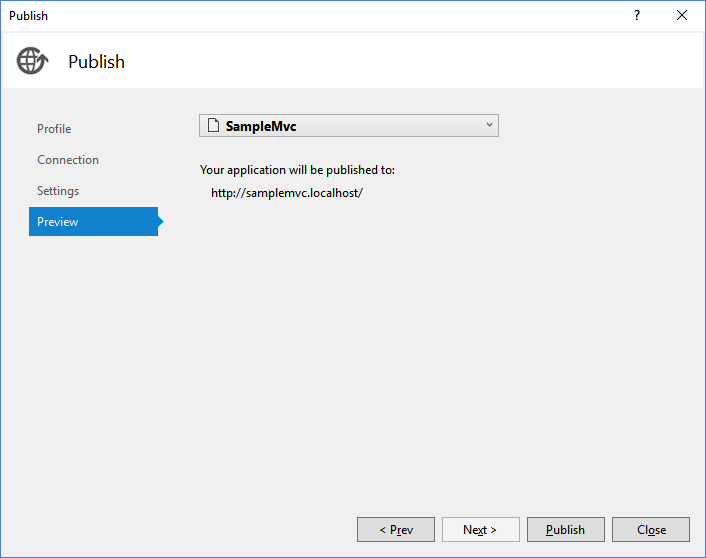 Publish Code in Visual Studio