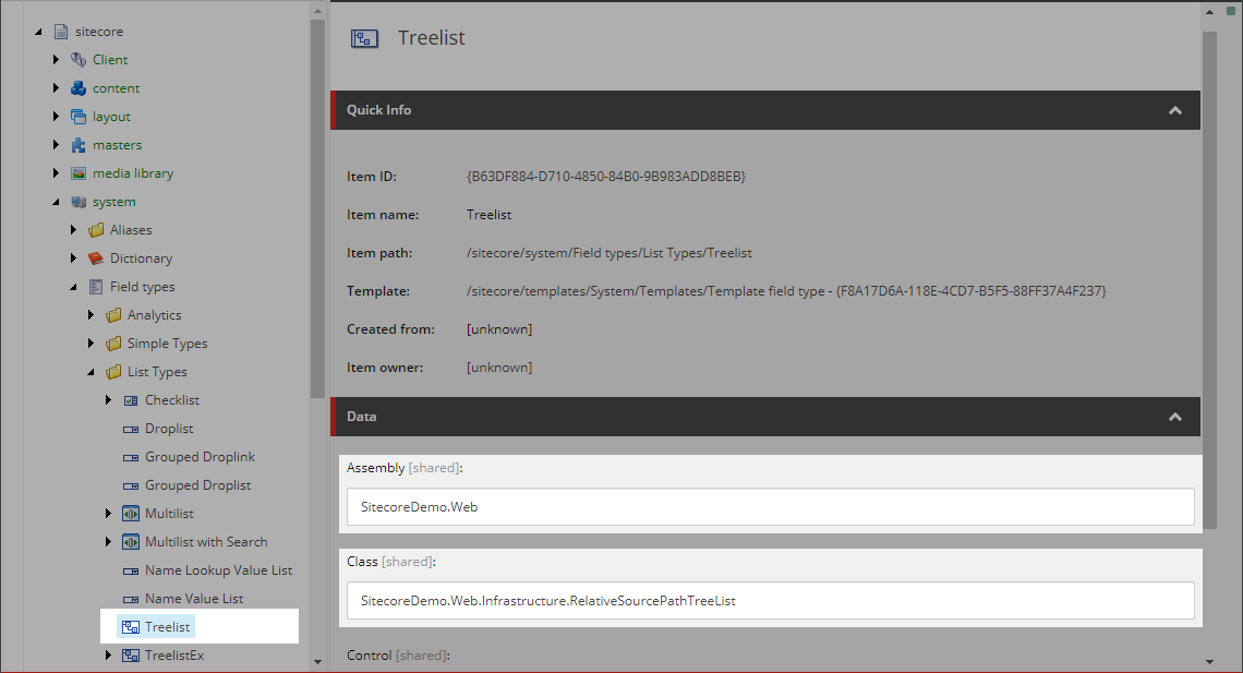 Treelist item in the Core database.