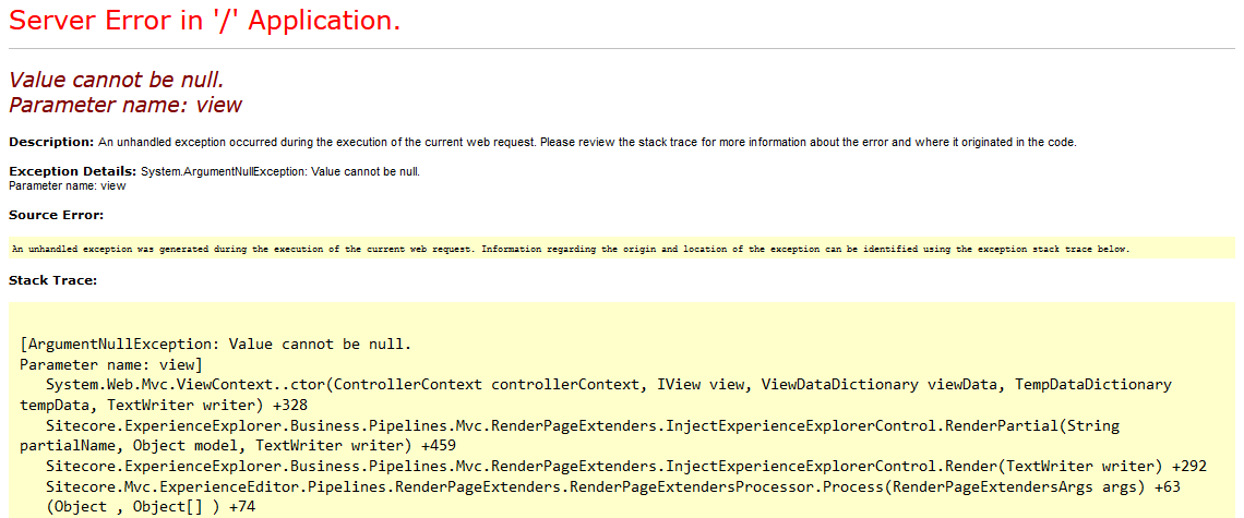 Sitecore - Null Value Exception When Opening Explore Mode