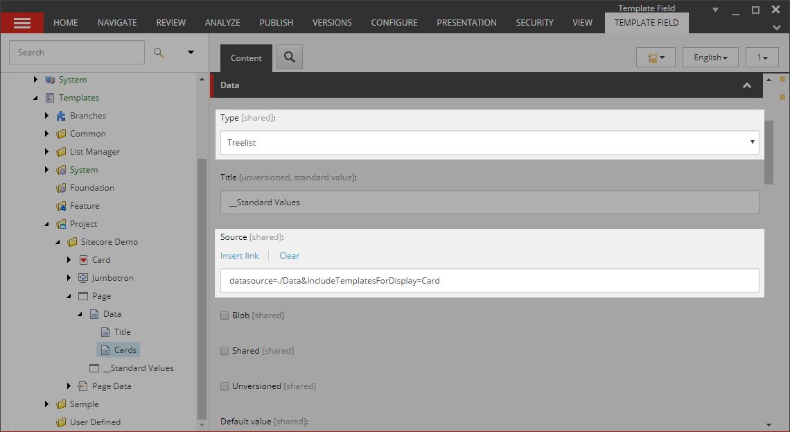 Treelist field using Source options.